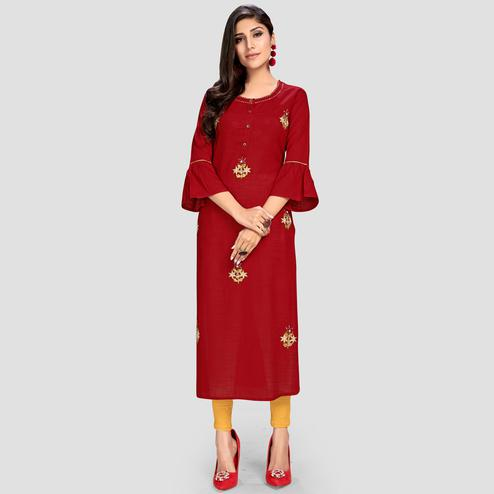 Vbuyz Women's - Maroon Colored Casual Embroidered Rayon Straight Kurti