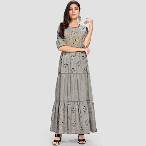 Vbuyz Women's - Grey Colored Casual Embroidered Cotton Anarkali Kurti