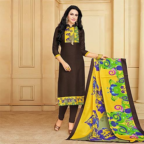 Charming Brown Designer Printed Silky Slub Suit