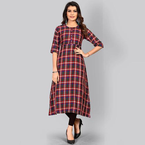 Vbuyz Women's - Multi Colored Casual Checked Printed Rayon A-Line Kurti