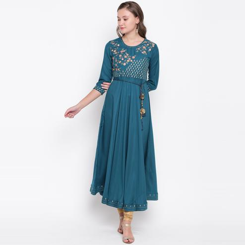 Vbuyz Women's - Teal Blue Colored Casual Embroidered Muslin Anarkali Kurti