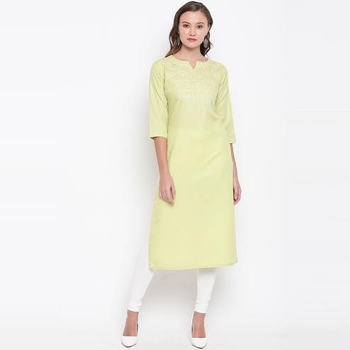 Vbuyz Women's - Light Parrot Green Colored Casual Embroidered Cotton Straight Kurti