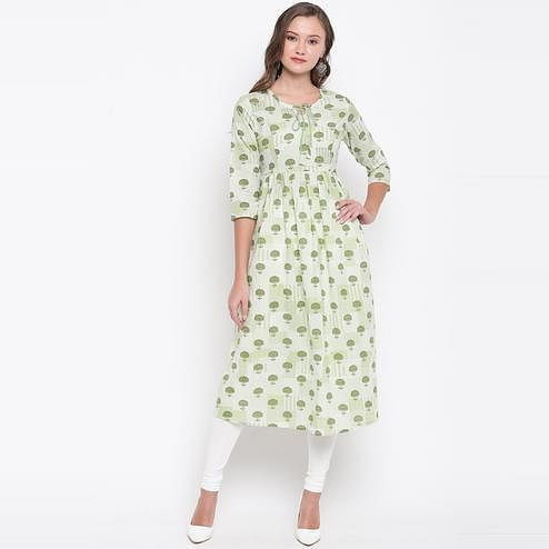 Vbuyz Women's - Green Colored Casual Printed Cotton Anarkali Kurti