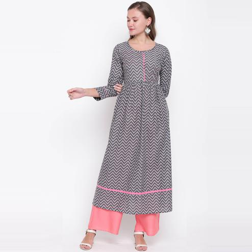 Vbuyz Women's - Grey Colored Casual Printed Cotton Anarkali Kurti