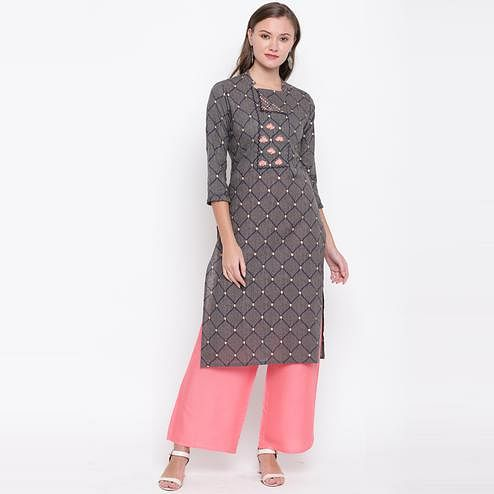 Vbuyz Women's - Grey Colored Casual Embroidered Cotton Straight Kurti