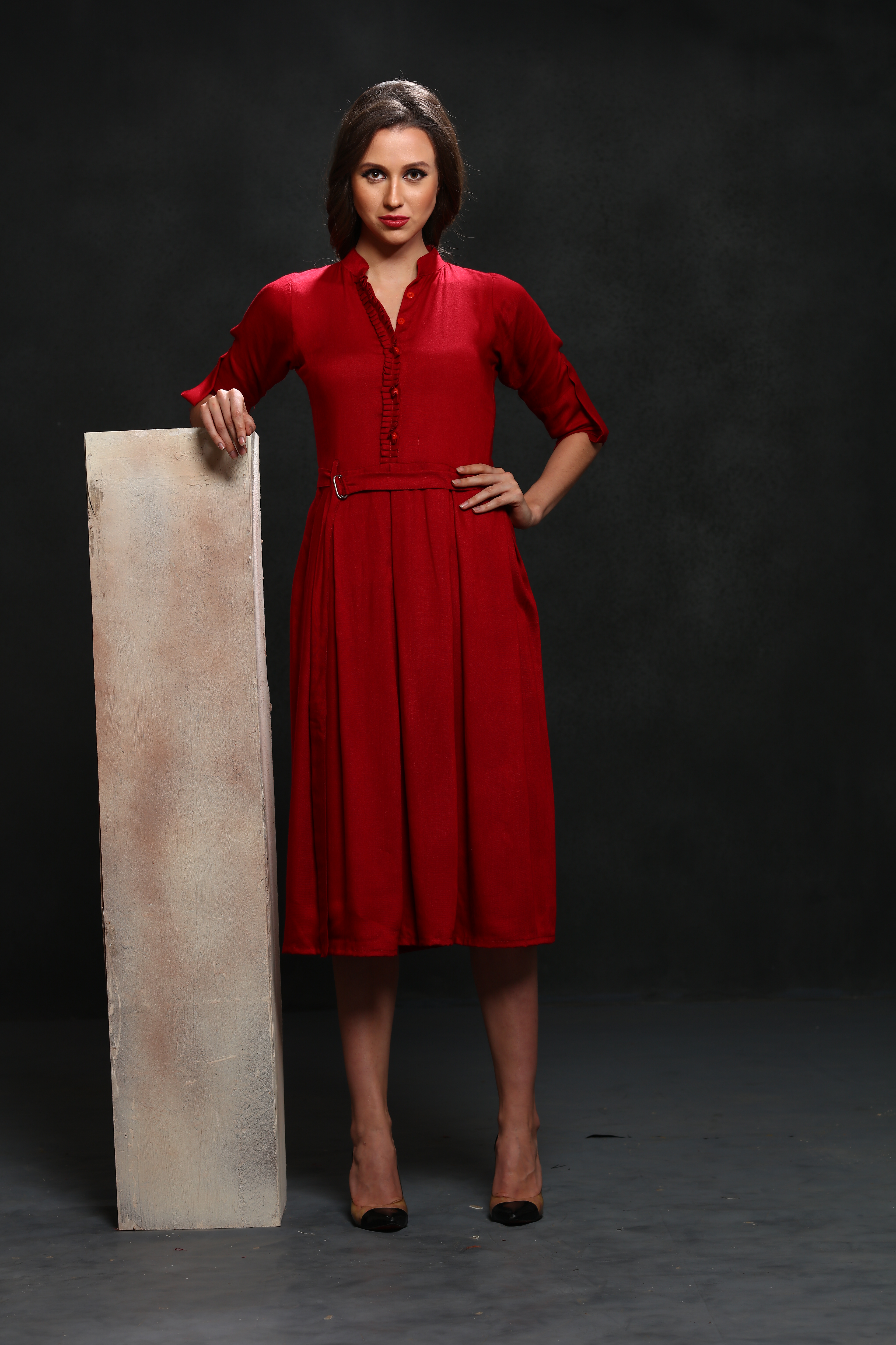 Hot Red Partywear Designer Rayon Shift Dress