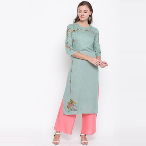 Vbuyz Women's - Light Green Colored Casual Embroidered Rayon Straight Kurti