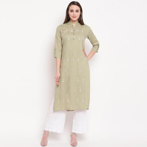 Vbuyz Women's - Beige Colored Casual Embroidered Rayon Straight Kurti