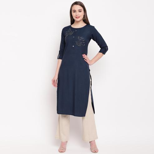 Vbuyz Women's - Blue Colored Casual Embellished/Solid Rayon Straight Kurti