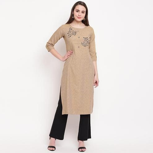 Vbuyz Women's - Cream Colored Casual Embellished/Solid Rayon Straight Kurti