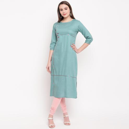 Vbuyz Women's - Sea Green Colored Casual Embroidered/Solid Rayon Straight Kurti