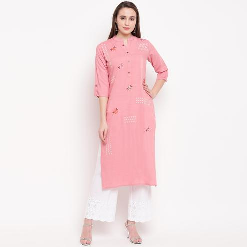 Vbuyz Women's - Light Pink Colored Casual Embroidered/Solid Rayon Straight Kurti