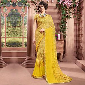Yellow Designer Partywear Printed Weightless Georgette Saree