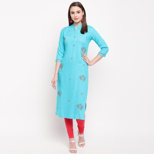 Vbuyz Women's - Sky Blue Colored Casual Embroidered/Solid Rayon Straight Kurti