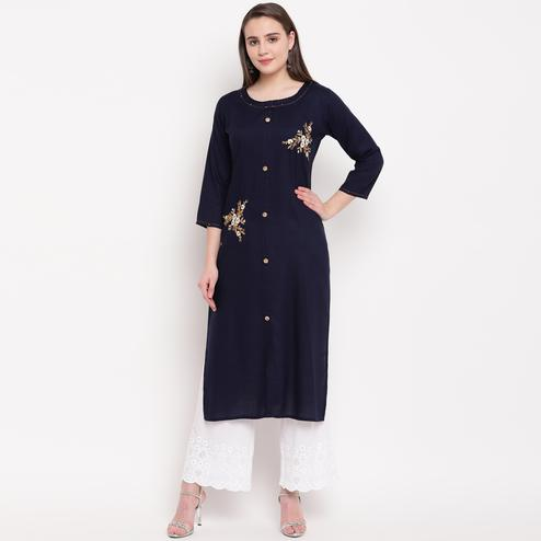 Vbuyz Women's - Blue Colored Casual Embroidered/Solid Rayon Straight Kurti