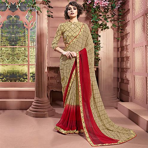 Beige Designer Partywear Printed Weightless Georgette Saree