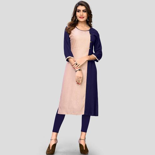 Vbuyz Women's - Blue & Peach Colored Casual Printed Rayon Straight Kurti