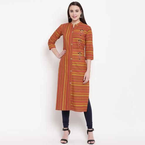 Vbuyz Women's - Red Colored Casual Hand Work/Printed Cotton Straight Kurti
