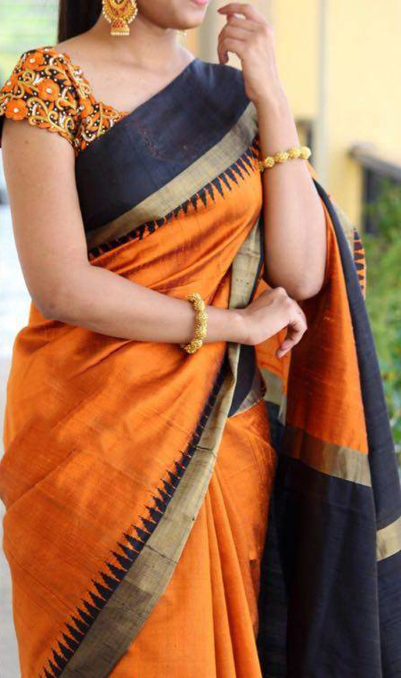 31f4728370ba54 Buy Orange - Black Saree with Embroidered Blouse for womens online ...