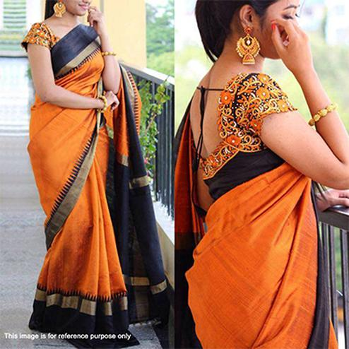 Orange - Black Saree with Embroidered Blouse
