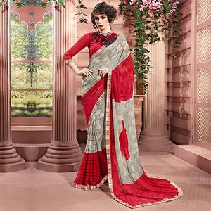 Gray-Red Designer Partywear Printed Weightless Georgette Saree