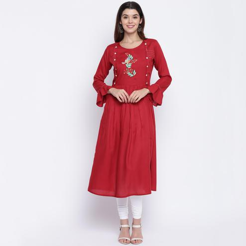 Vbuyz Women's - Maroon Colored Casual Embroidered Rayon Anarkali Kurti
