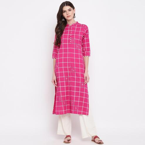 Vbuyz Women's - Pink Colored Casual Checked Printed Cotton Straight Kurti