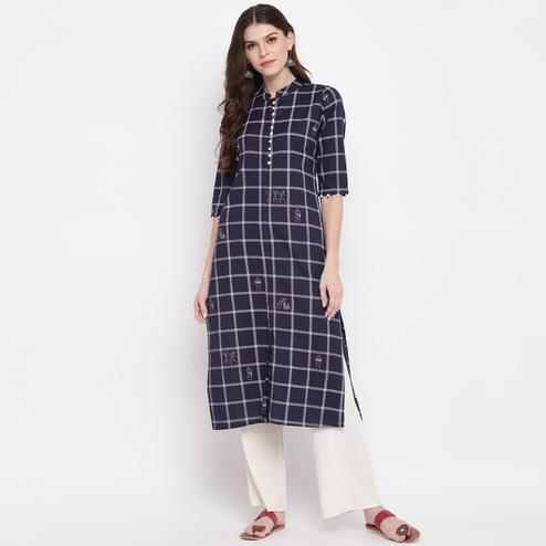 Vbuyz Women's - Navy Blue Colored Casual Checked Printed Cotton Straight Kurti