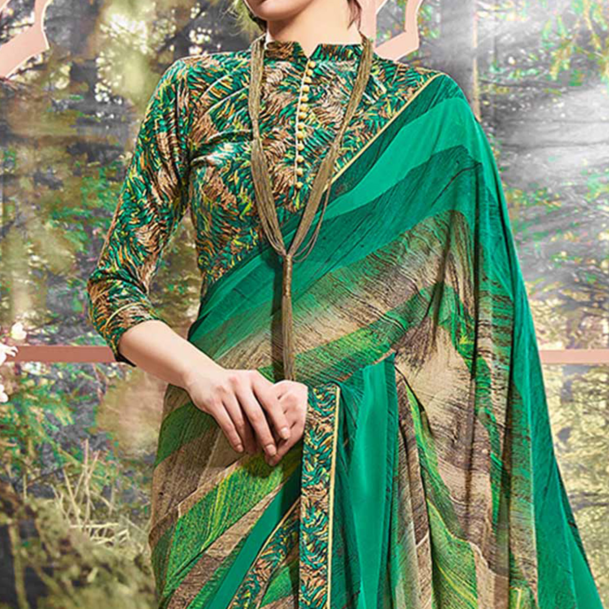 Green Designer Partywear Printed Weightless Georgette Saree