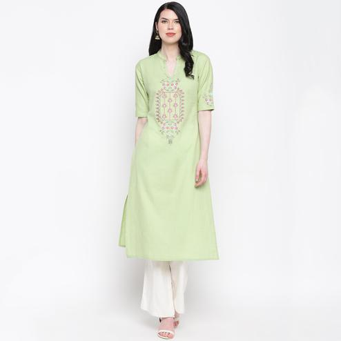 Vbuyz Women's - Pista Green Colored Casual Embroidered/Hand Work Cotton Straight Kurti