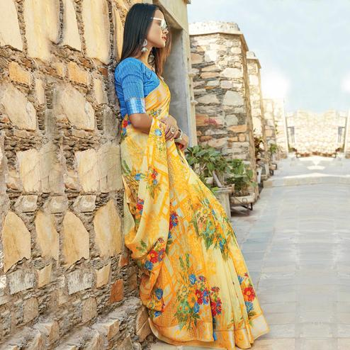 Energetic Yellow Colored Casual Wear Printed Cotton Saree