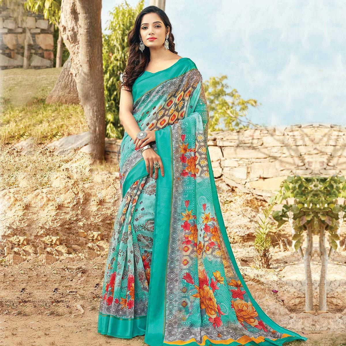 Exceptional Rama Green Colored Casual Wear Printed Cotton Saree