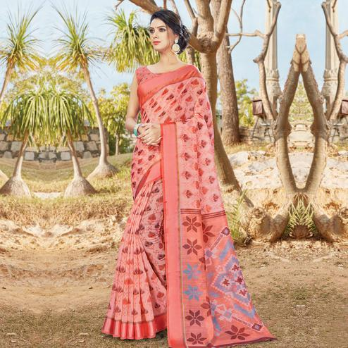 Gleaming Peach Colored Casual Wear Printed Cotton Saree