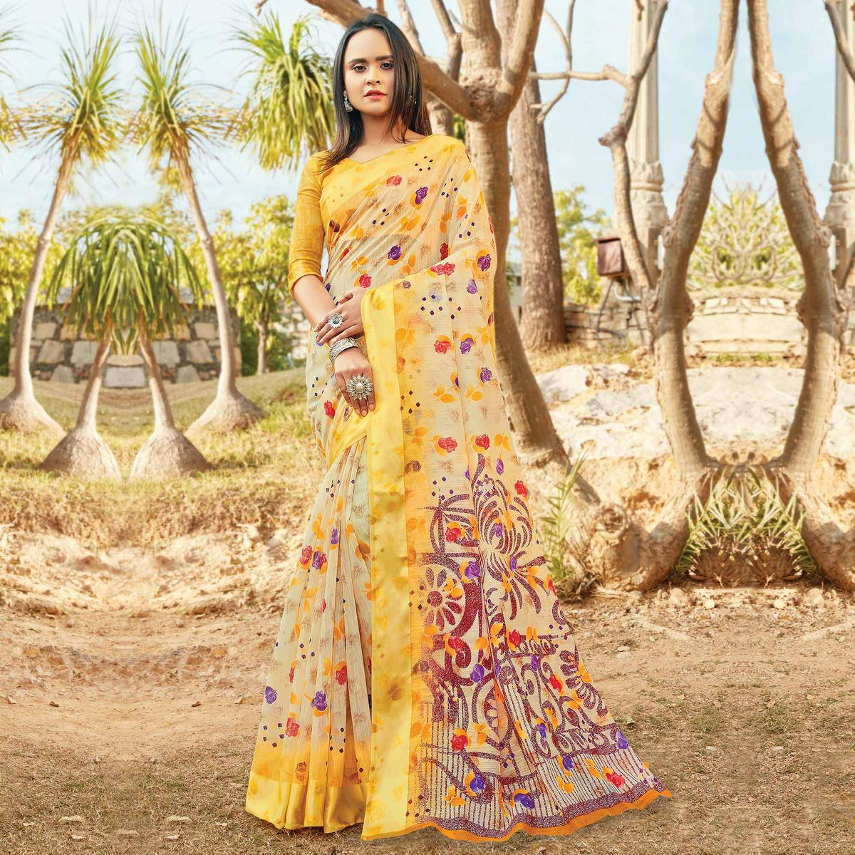 Mesmeric Yellow Colored Casual Wear Printed Cotton Saree