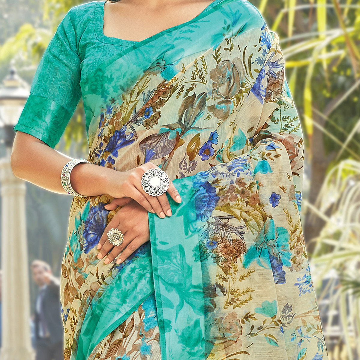 Unique Cream-Turquoise Colored Casual Wear Printed Cotton Saree
