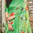Magnetic Green Colored Casual Wear Printed Cotton Saree