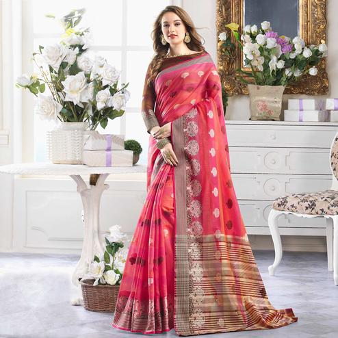 Innovative Pink Colored Festive Wear Woven Cotton Handloom Silk Saree