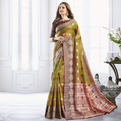 Eye-catching Olive Green Colored Festive Wear Woven Cotton Handloom Silk Saree