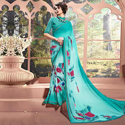 Blue Designer Partywear Printed Weightless Georgette Saree
