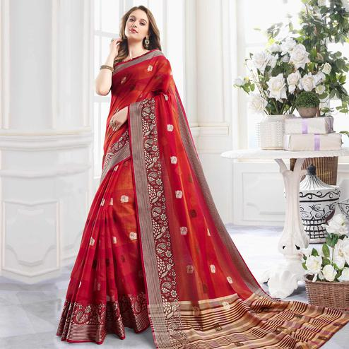 Fantastic Red Colored Festive Wear Woven Cotton Handloom Silk Saree