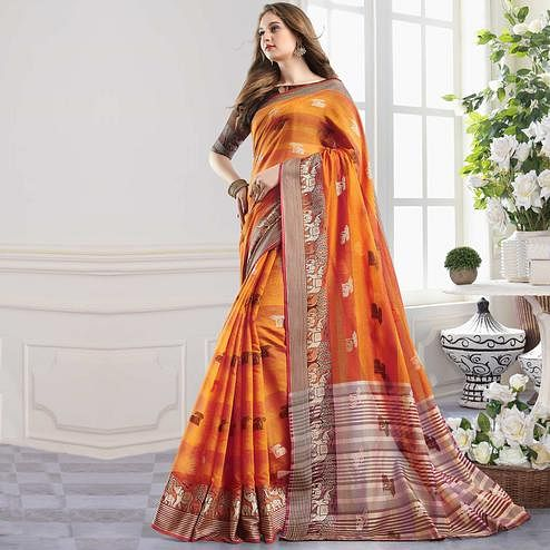 Amazing Orange Colored Festive Wear Woven Cotton Handloom Silk Saree