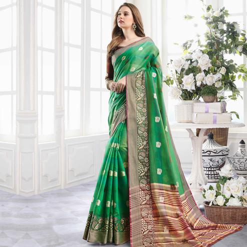 Gorgeous Green Colored Festive Wear Woven Cotton Handloom Silk Saree