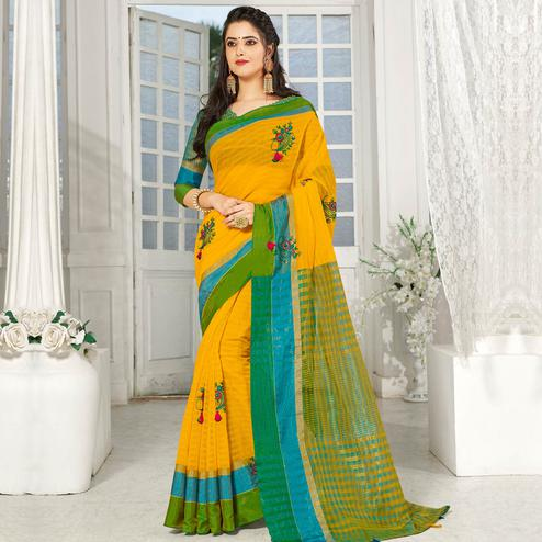 Arresting Yellow Colored Party Wear Embroidered Cotton Silk Saree With Tassels