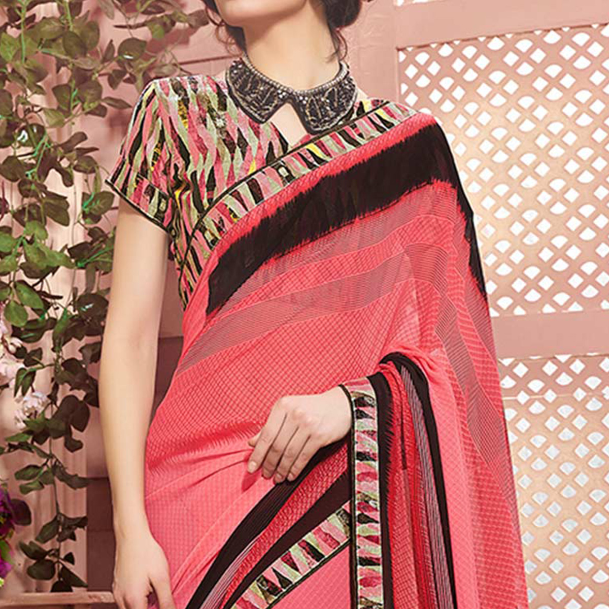 Peach Designer Partywear Printed Weightless Georgette Saree