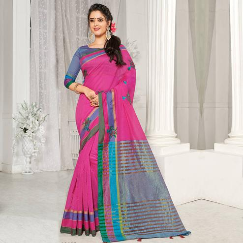 Desirable Pink Colored Party Wear Embroidered Cotton Silk Saree With Tassels