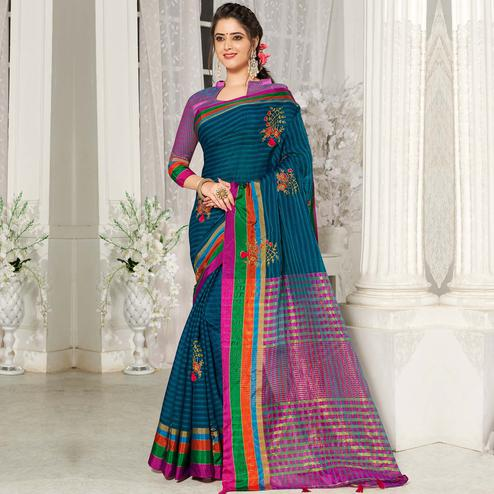 Exotic Teal Blue Colored Party Wear Embroidered Cotton Silk Saree With Tassels