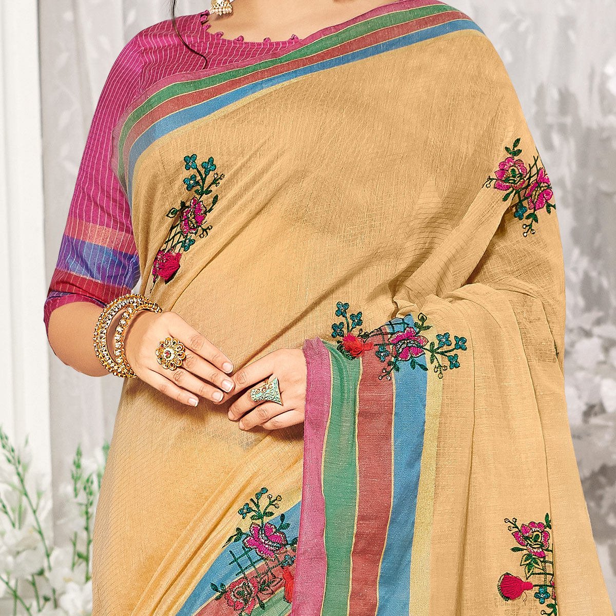 Trendy Beige Colored Party Wear Embroidered Cotton Silk Saree With Tassels