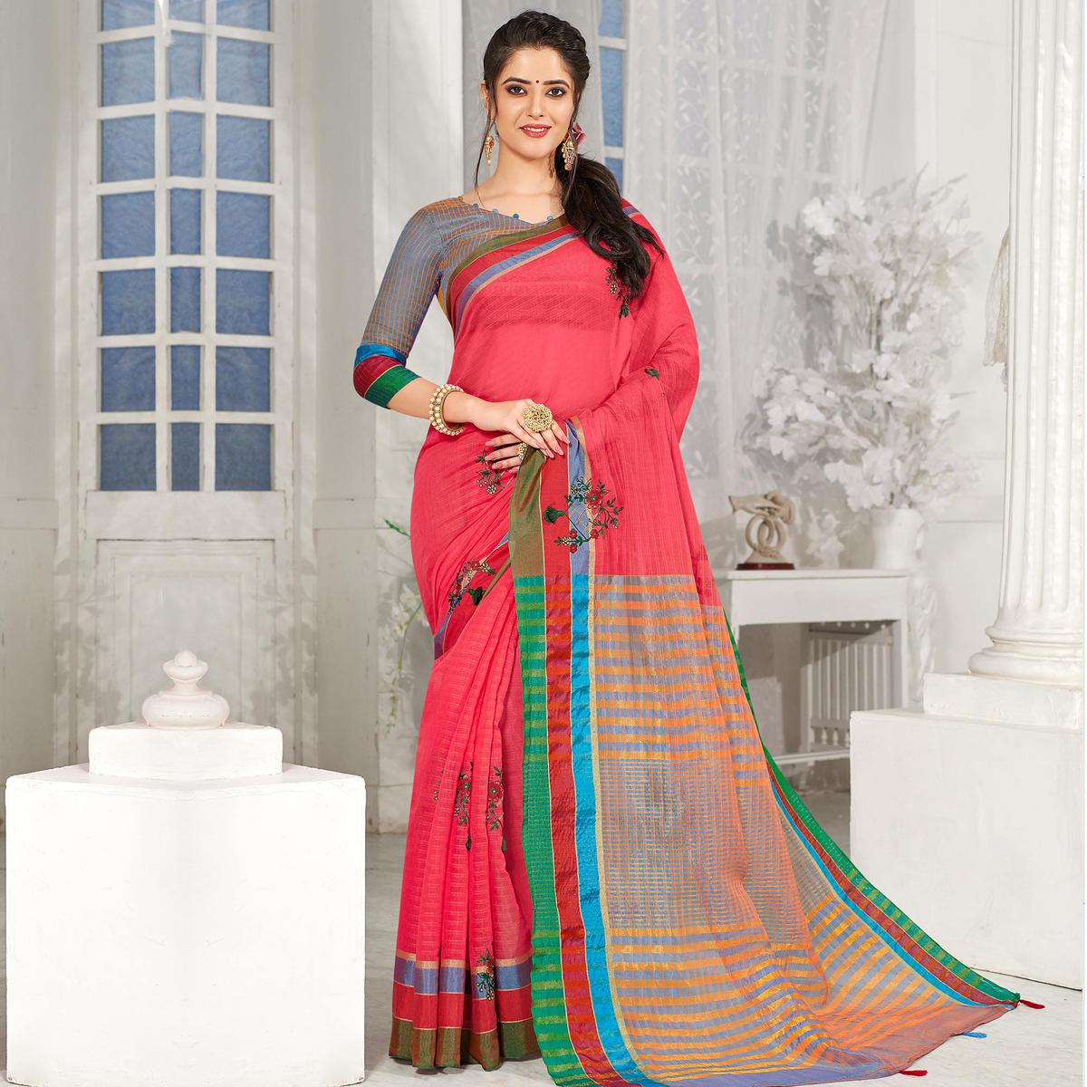Elegant Coral Red Colored Party Wear Embroidered Cotton Silk Saree With Tassels