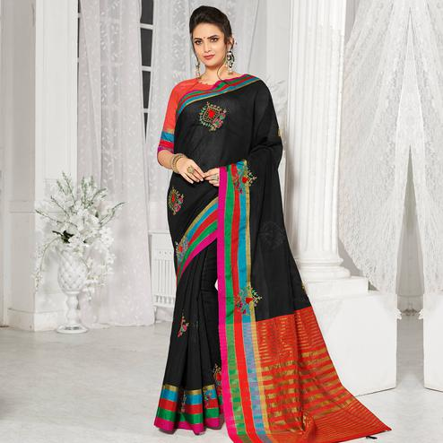Pleasant Black Colored Party Wear Embroidered Cotton Silk Saree With Tassels
