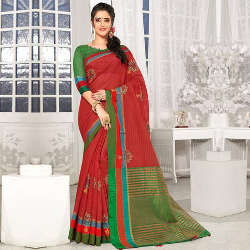 Opulent Red Colored Party Wear Embroidered Cotton Silk Saree With Tassels